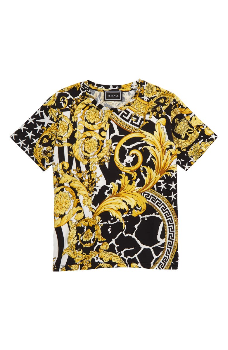 VERSACE Baroque Print T-Shirt, Main, color, BLACK/ GOLD