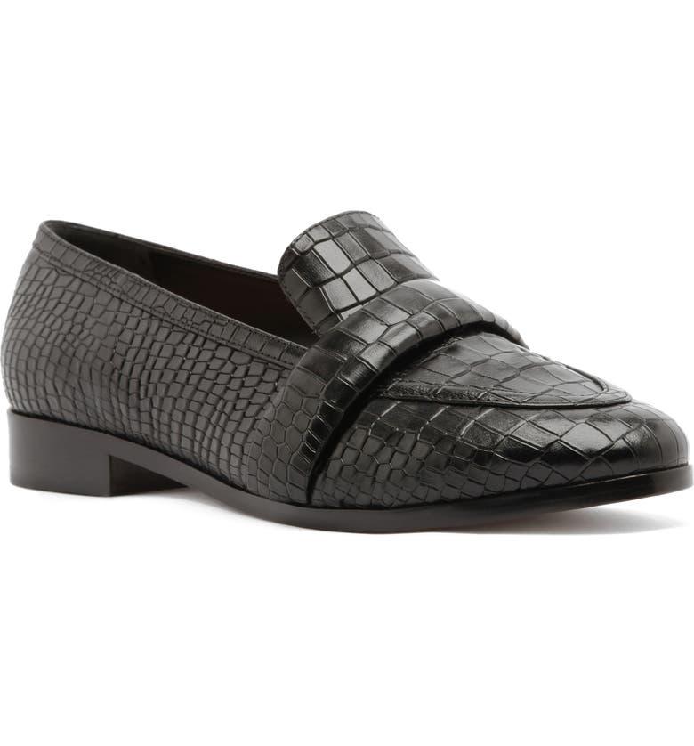 SCHUTZ Romina Croc Embossed Loafer, Main, color, BLACK LEATHER