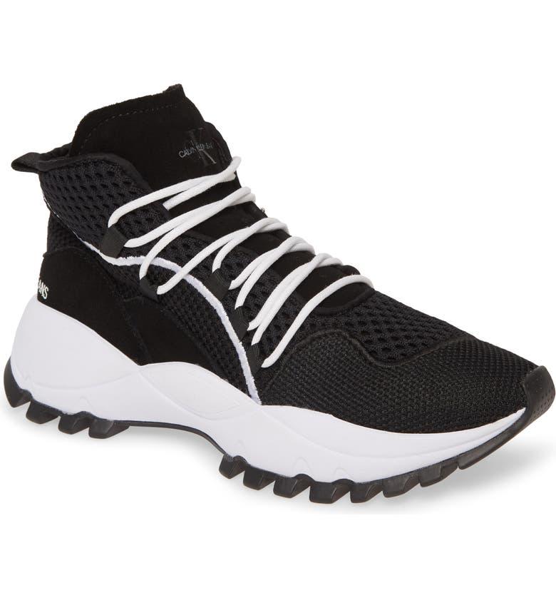 CALVIN KLEIN JEANS Tracee High Top Sneaker, Main, color, BLACK MULTI