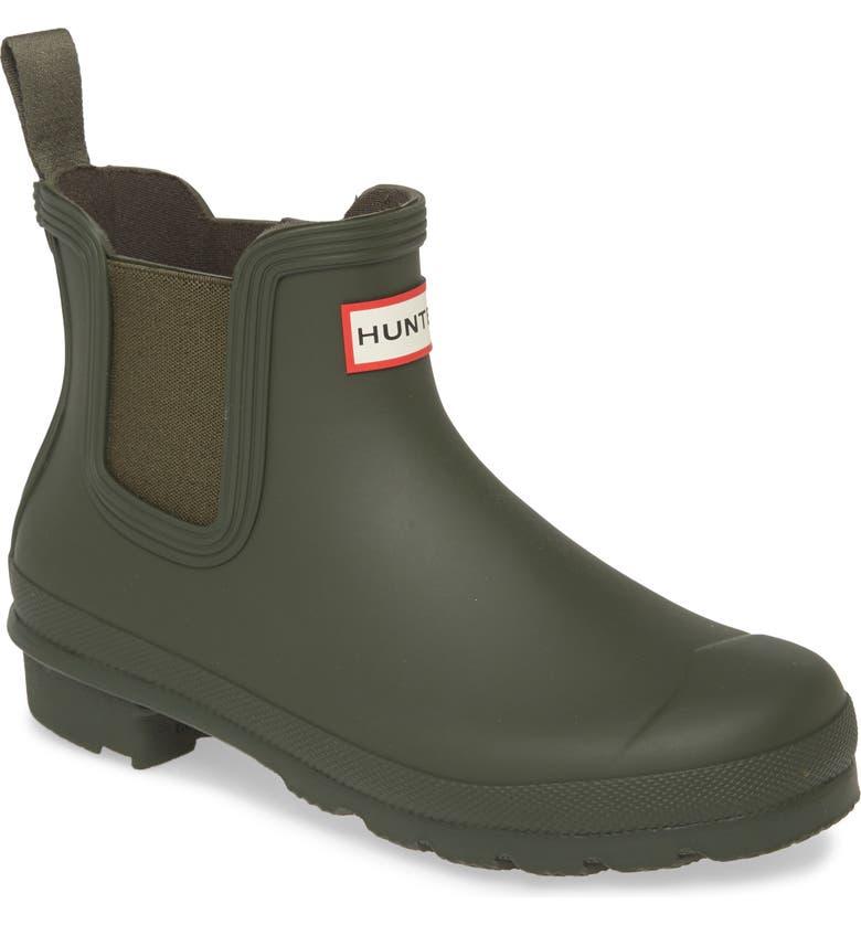 HUNTER Original Waterproof Chelsea Rain Boot, Main, color, DARK OLIVE