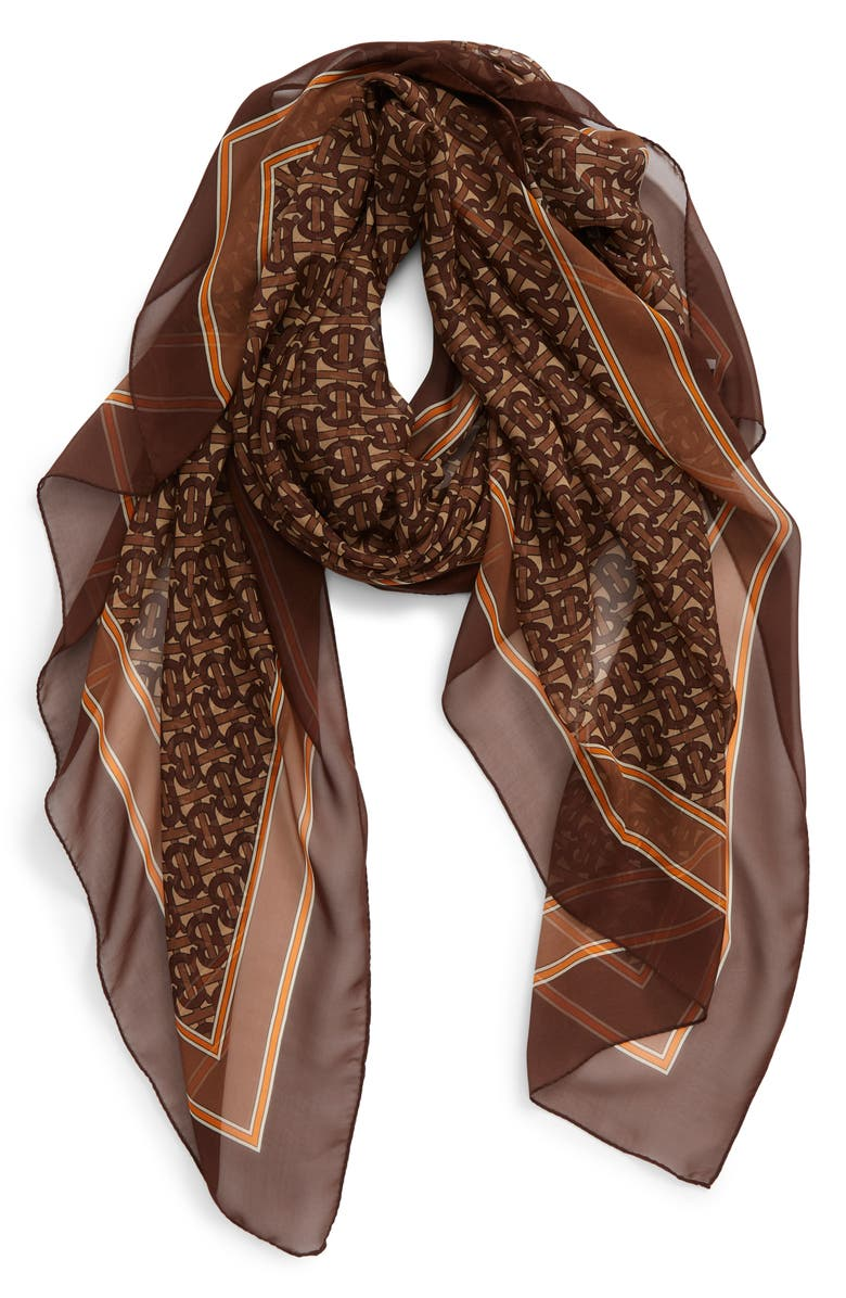 BURBERRY TB Monogram Mulberry Silk Chiffon Scarf, Main, color, BRIDLE BROWN