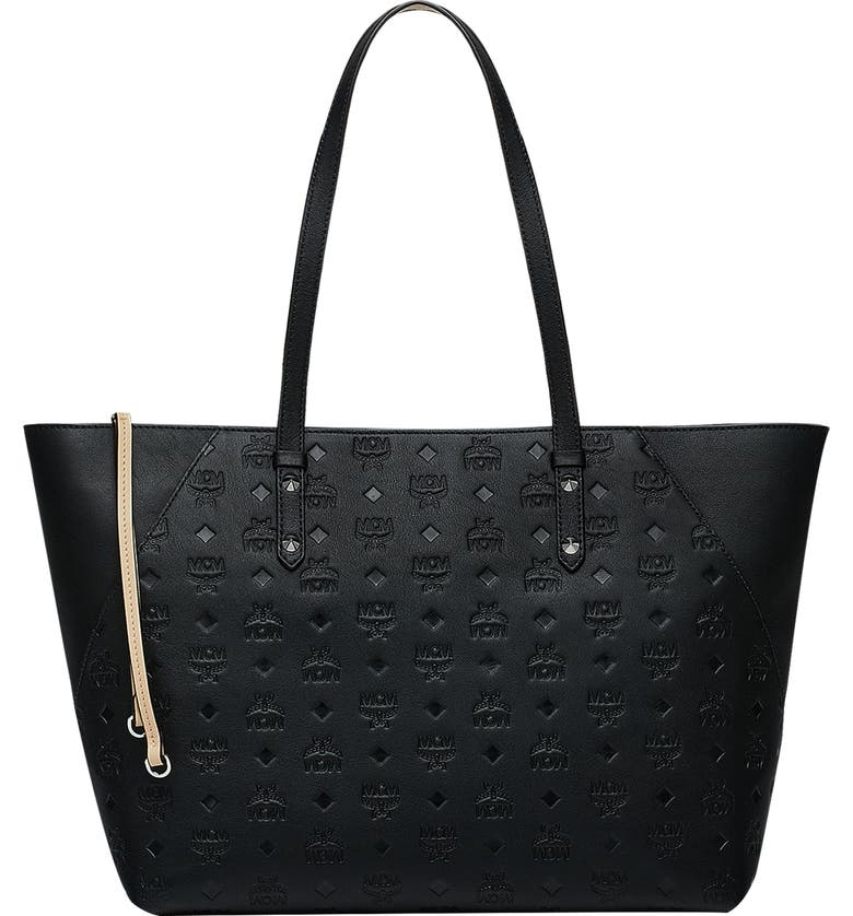 MCM Medium Klara Monogram Leather Shopper, Main, color, BLACK