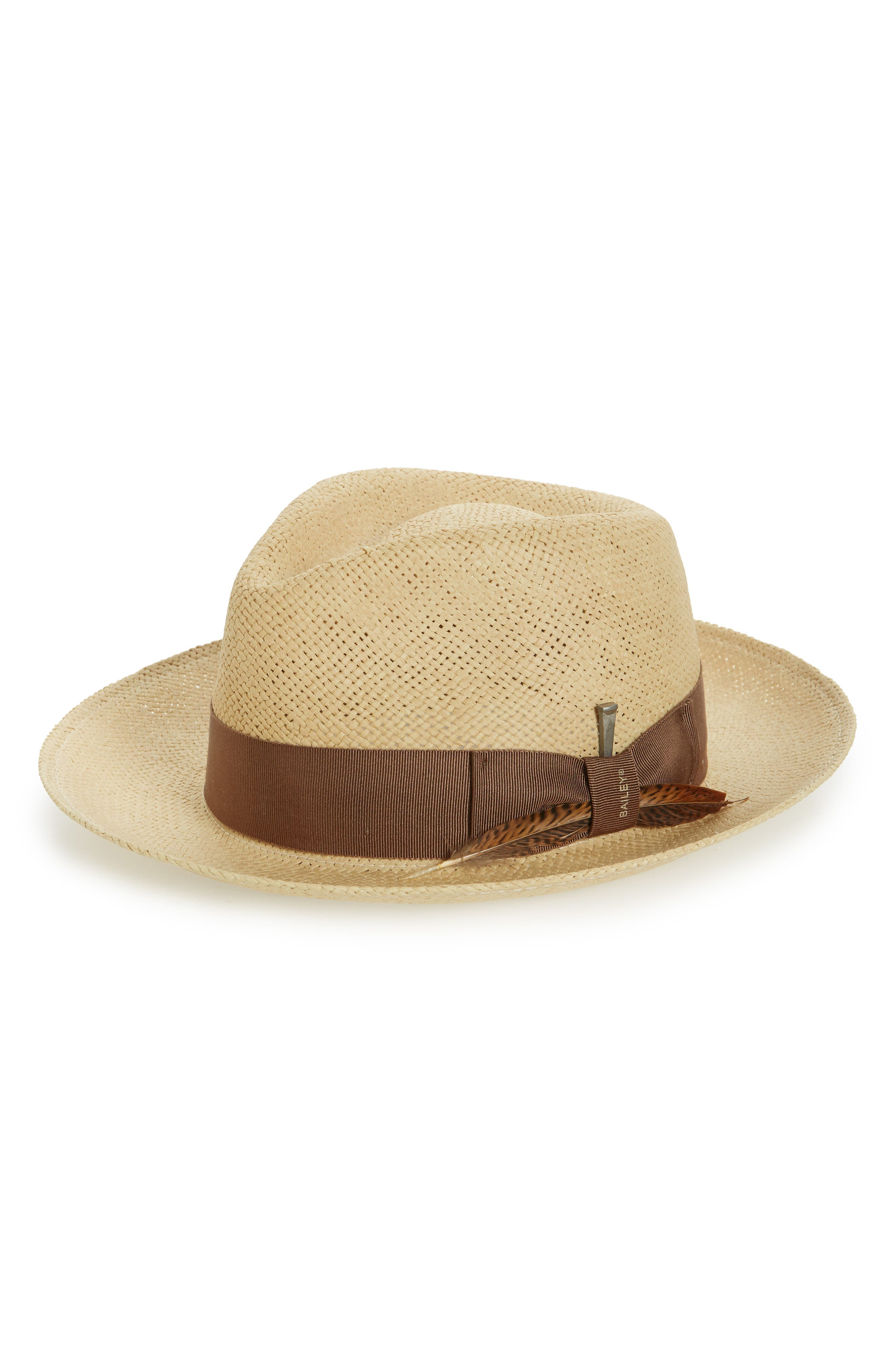Bailey Outen Straw Fedora - Beige