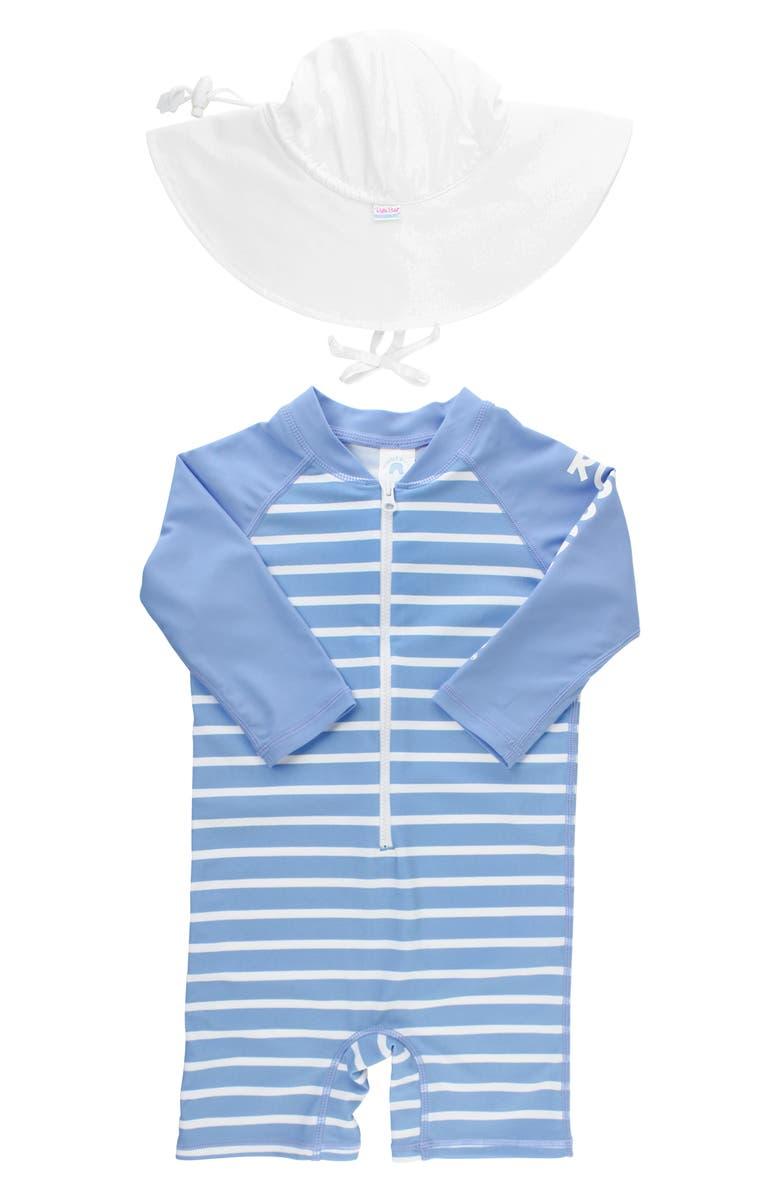 RUGGEDBUTTS Cornflower Blue One-Piece Rashguard Swimsuit & Hat Set, Main, color, CORNFLOWER BLUE STRIPE