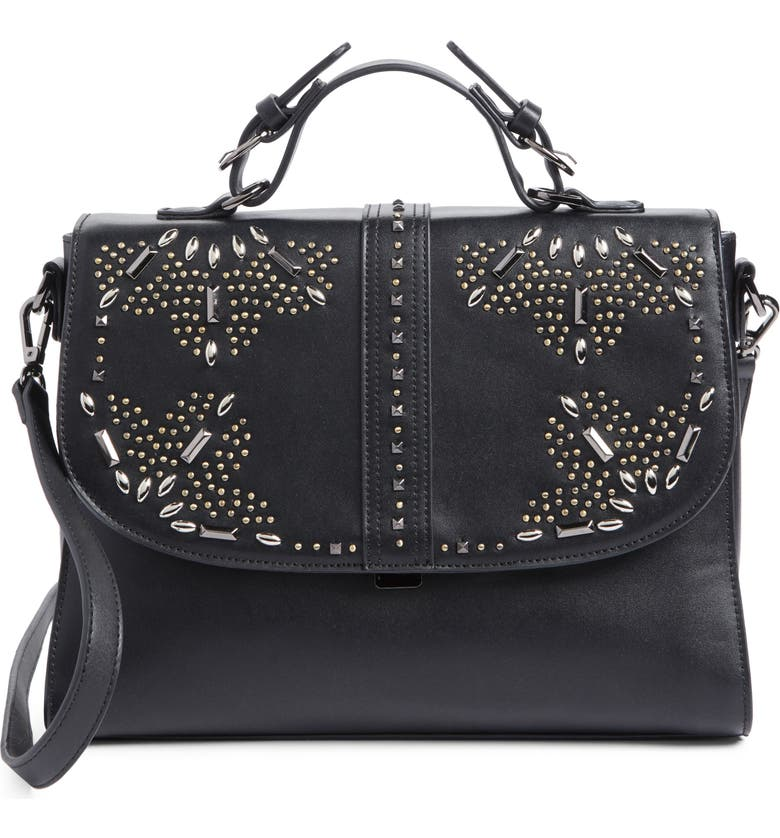 CHELSEA28 Blair Embellished Faux Leather Top Handle Satchel, Main, color, 001