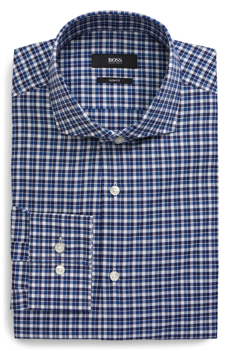 BOSS Slim Fit Plaid Dress Shirt, Main, color, BLUE