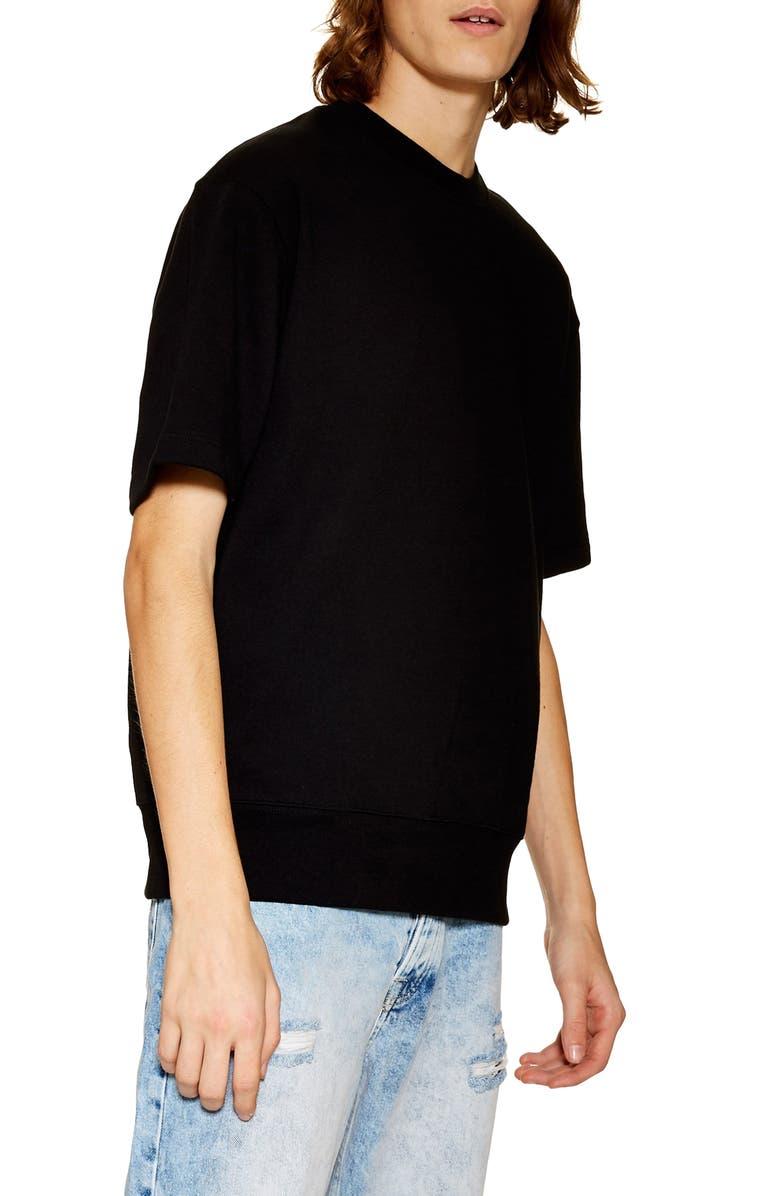 TOPMAN Short Sleeve Crewneck Sweatshirt, Main, color, BLACK