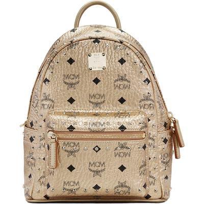 Mcm Mini Stark Stud Coated Canvas Backpack - Metallic