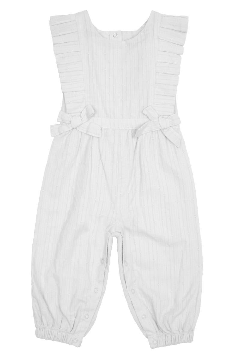 HABITUAL Swiss Dot Pleated Jumpsuit, Main, color, WHITE
