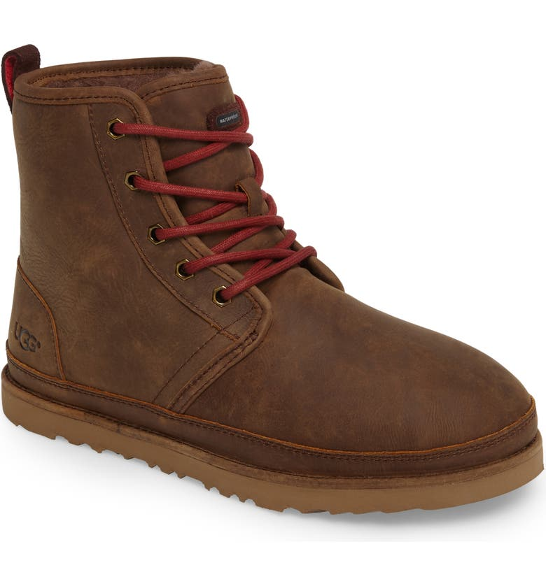 UGG<SUP>®</SUP> Harkley Weather Waterproof Plain Toe Boot, Main, color, GRIZZLY