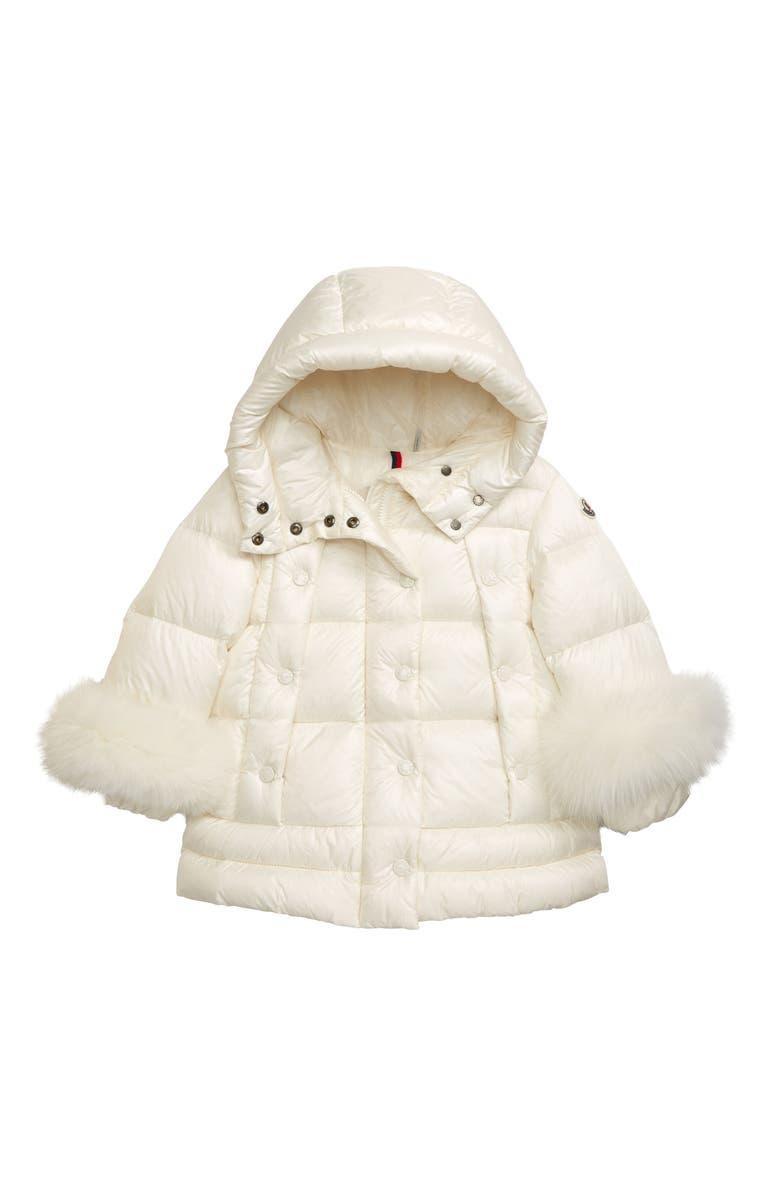 MONCLER Brionnais Hooded Down Puffer Jacket with Genuine Fox Fur Trim, Main, color, WHITE