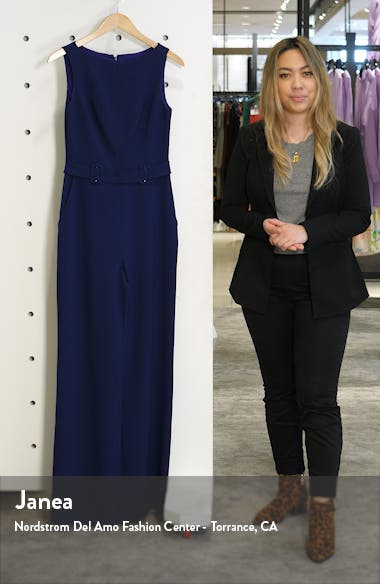 Belted Sleeveless Stretch Crepe Jumpsuit, sales video thumbnail