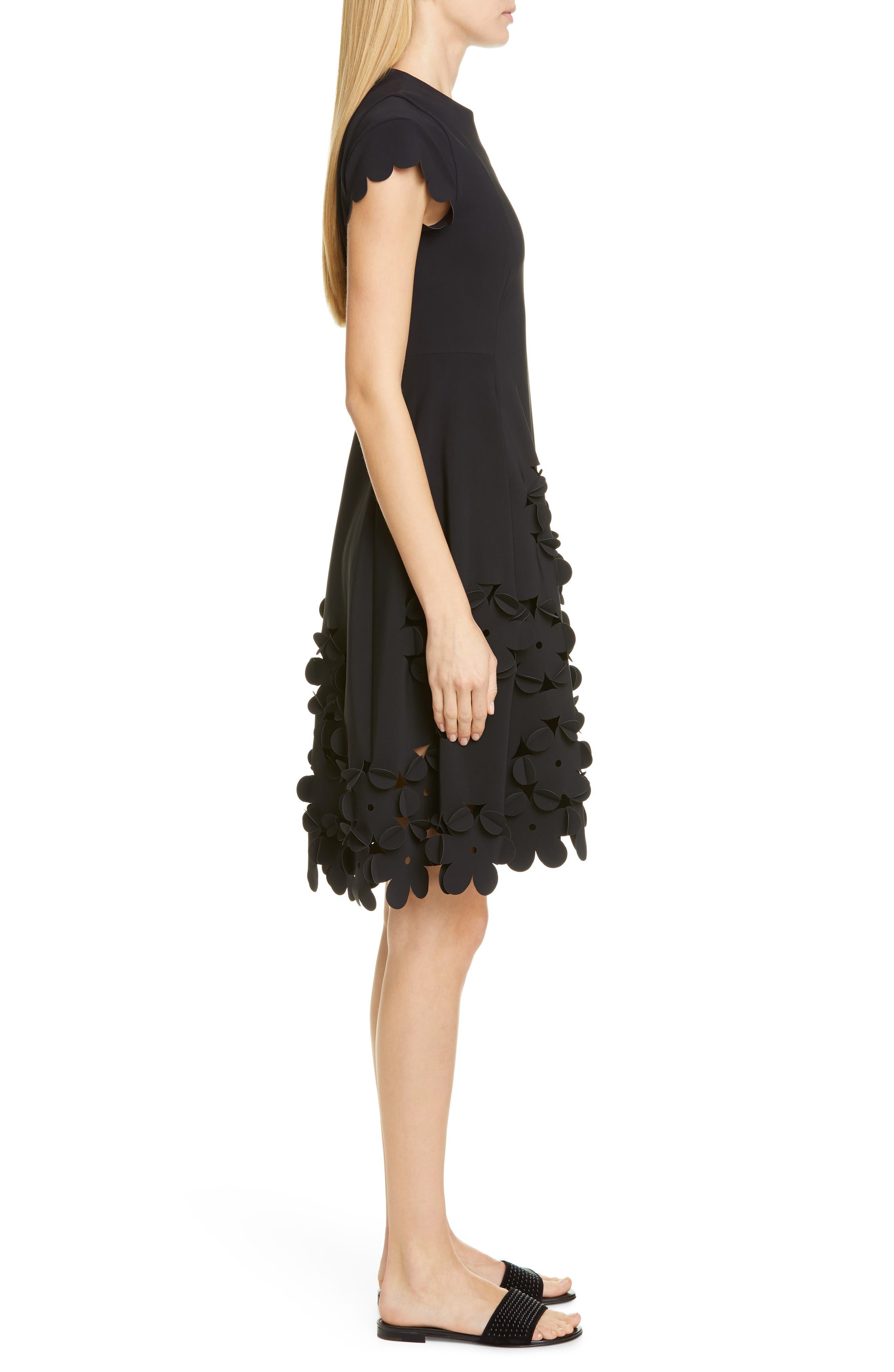 ,                             Floral Appliqué Fit & Flare Dress,                             Alternate thumbnail 3, color,                             001