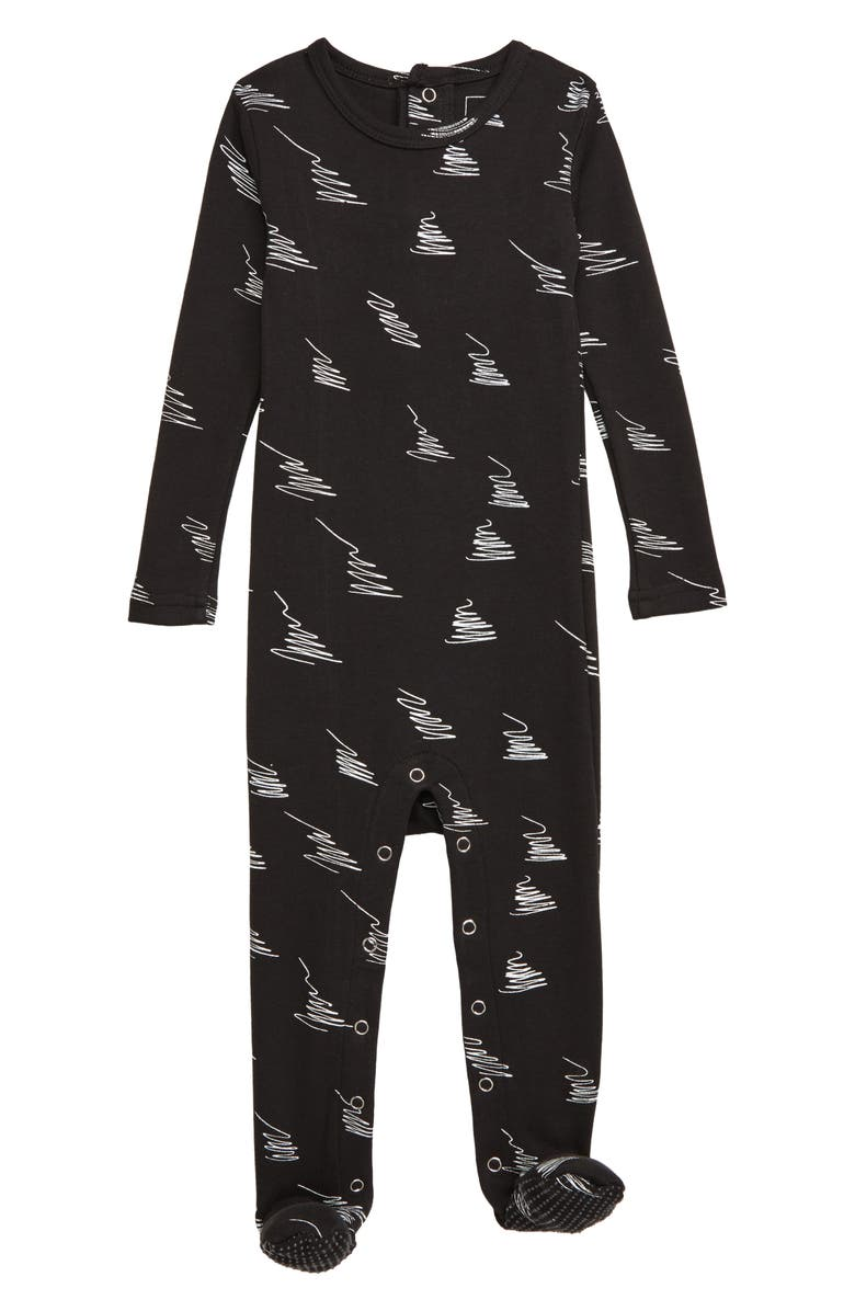 L'OVEDBABY Swirl Print Organic Cotton Footie, Main, color, 001