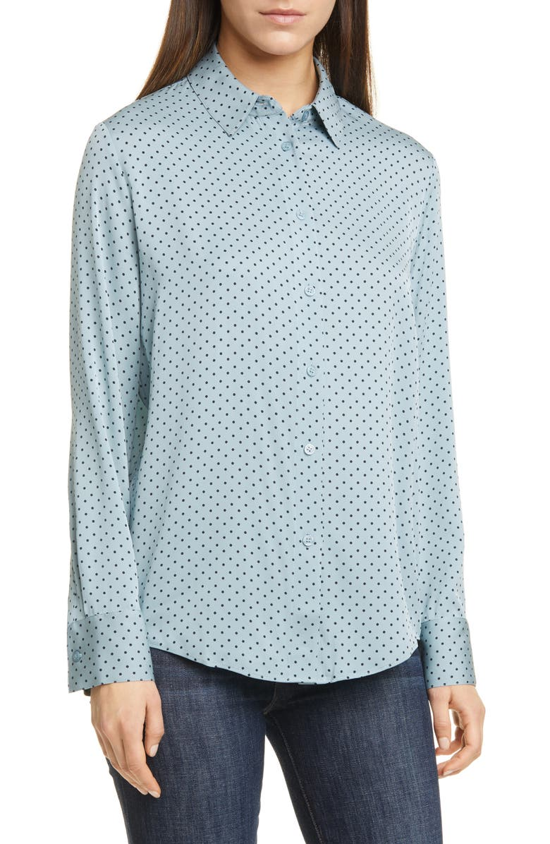 NORDSTROM SIGNATURE Long Sleeve Stretch Silk Button-Up Shirt, Main, color, BLUE ARONA MAGALI DOT