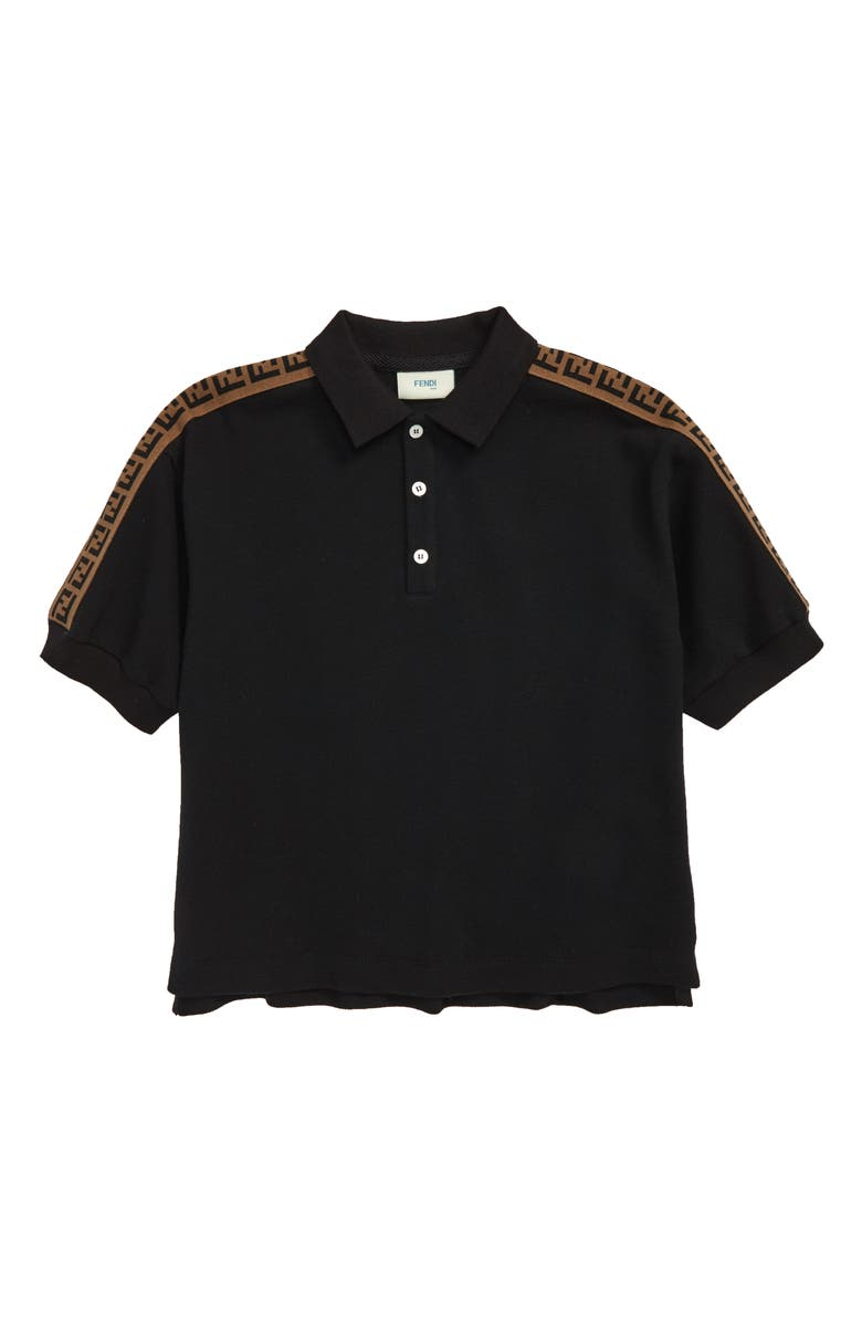 FENDI Logo Trim Polo, Main, color, F0QA1 BLACK