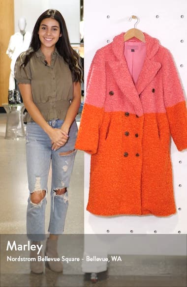 Arrival Colorblock Faux Fur Coat, sales video thumbnail