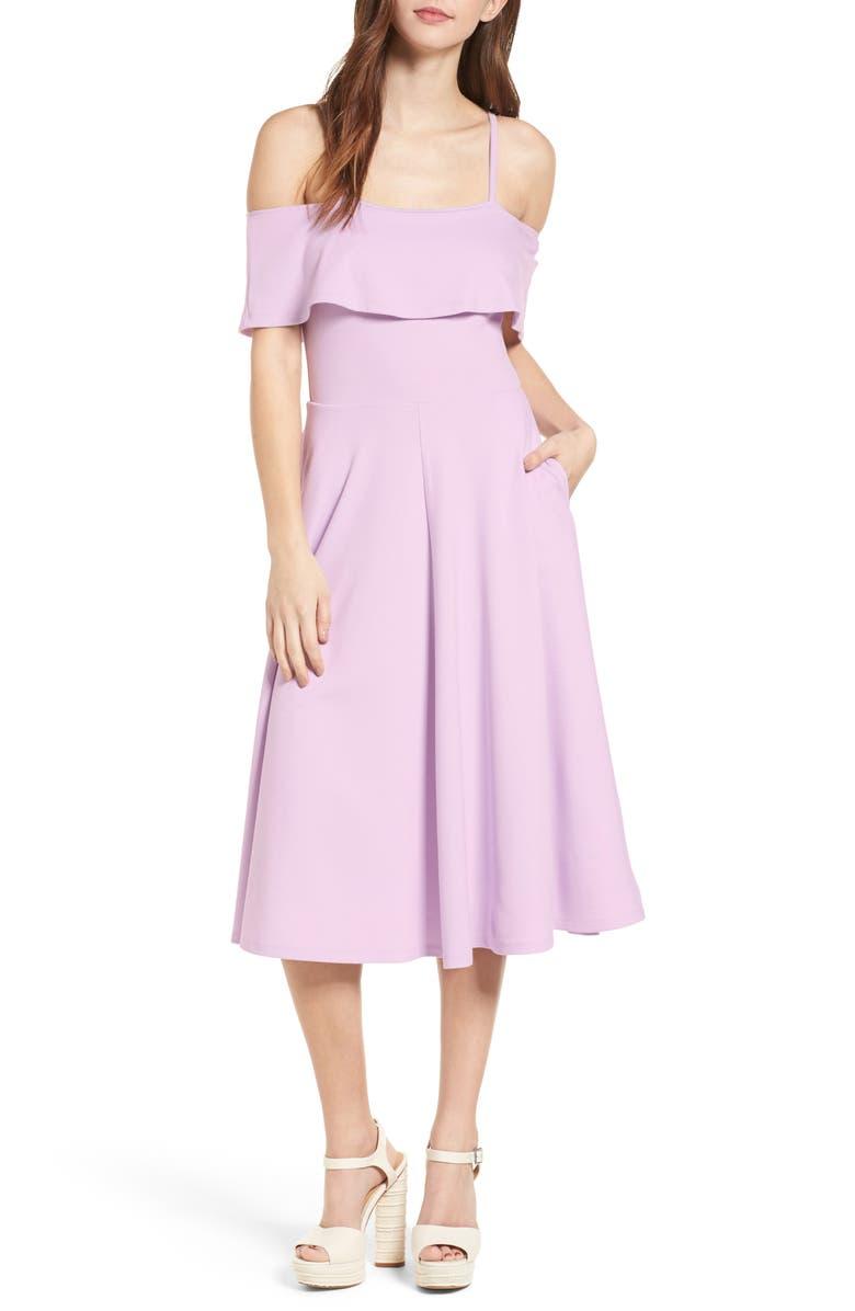 LEITH Cold Shoulder Midi Dress, Main, color, 530