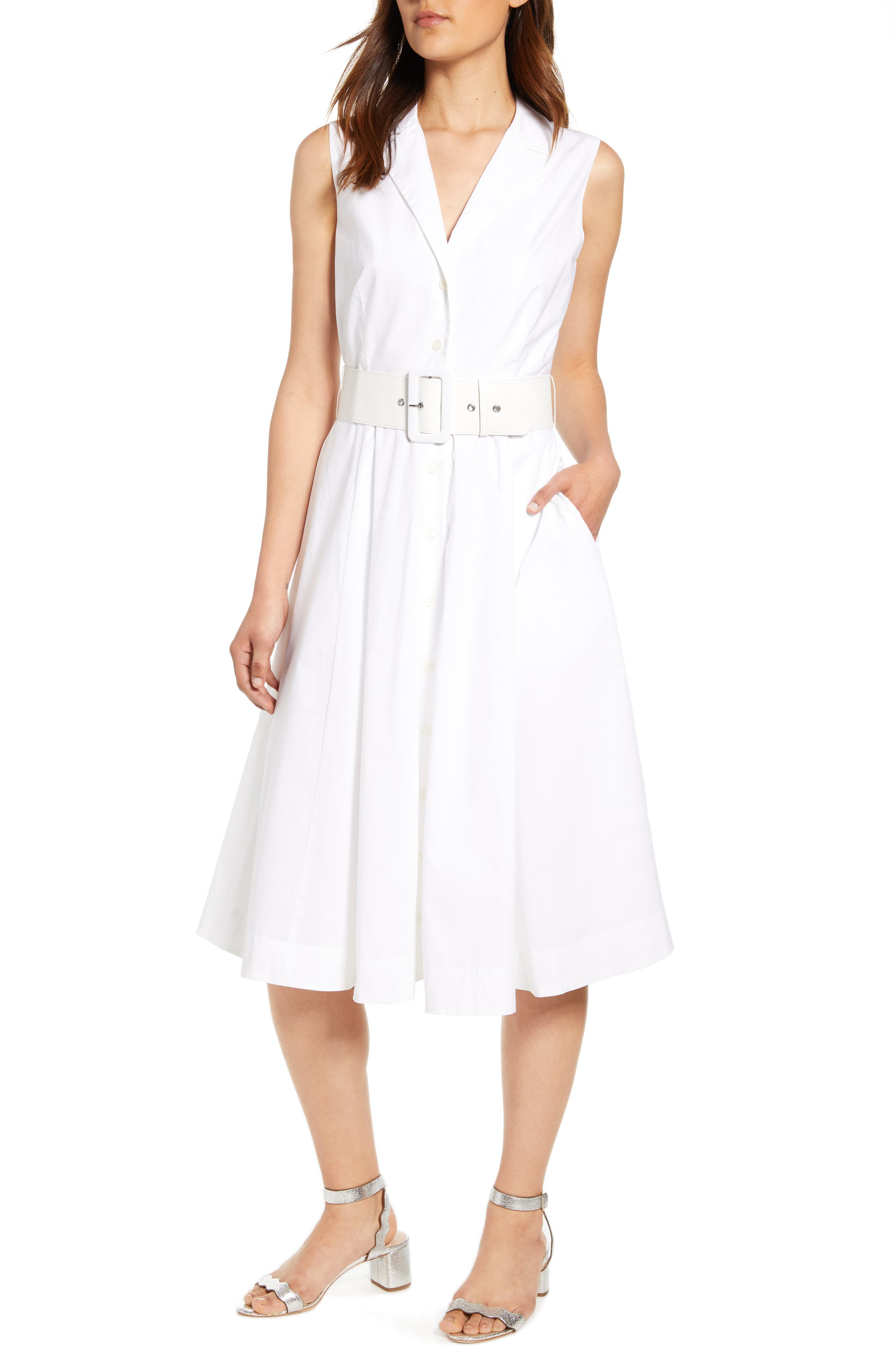 J.crew Sleeveless A-Line Shirtdress With Removable Belt, White