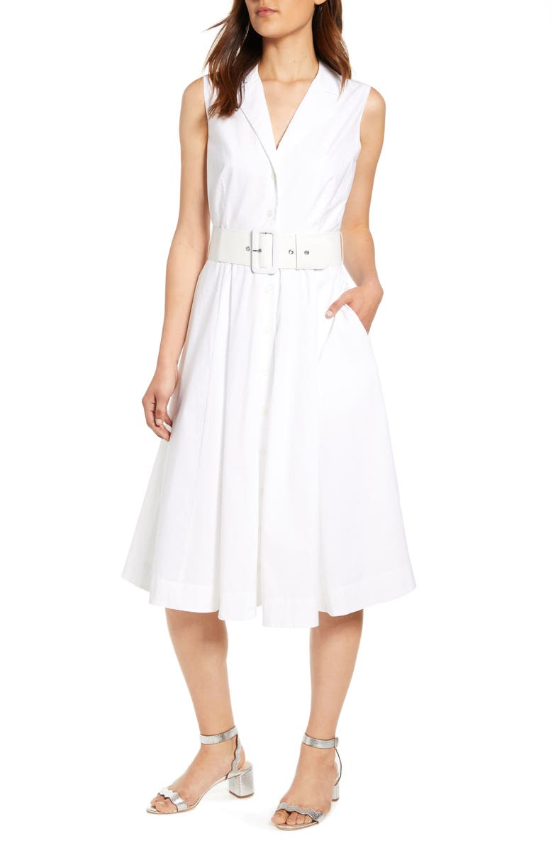 J.CREW Sleeveless A-Line Shirtdress with Removable Belt, Main, color, 109