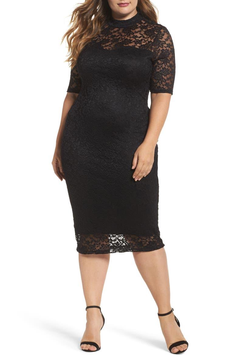 SOPRANO Lace Body-Con Midi Dress, Main, color, 001
