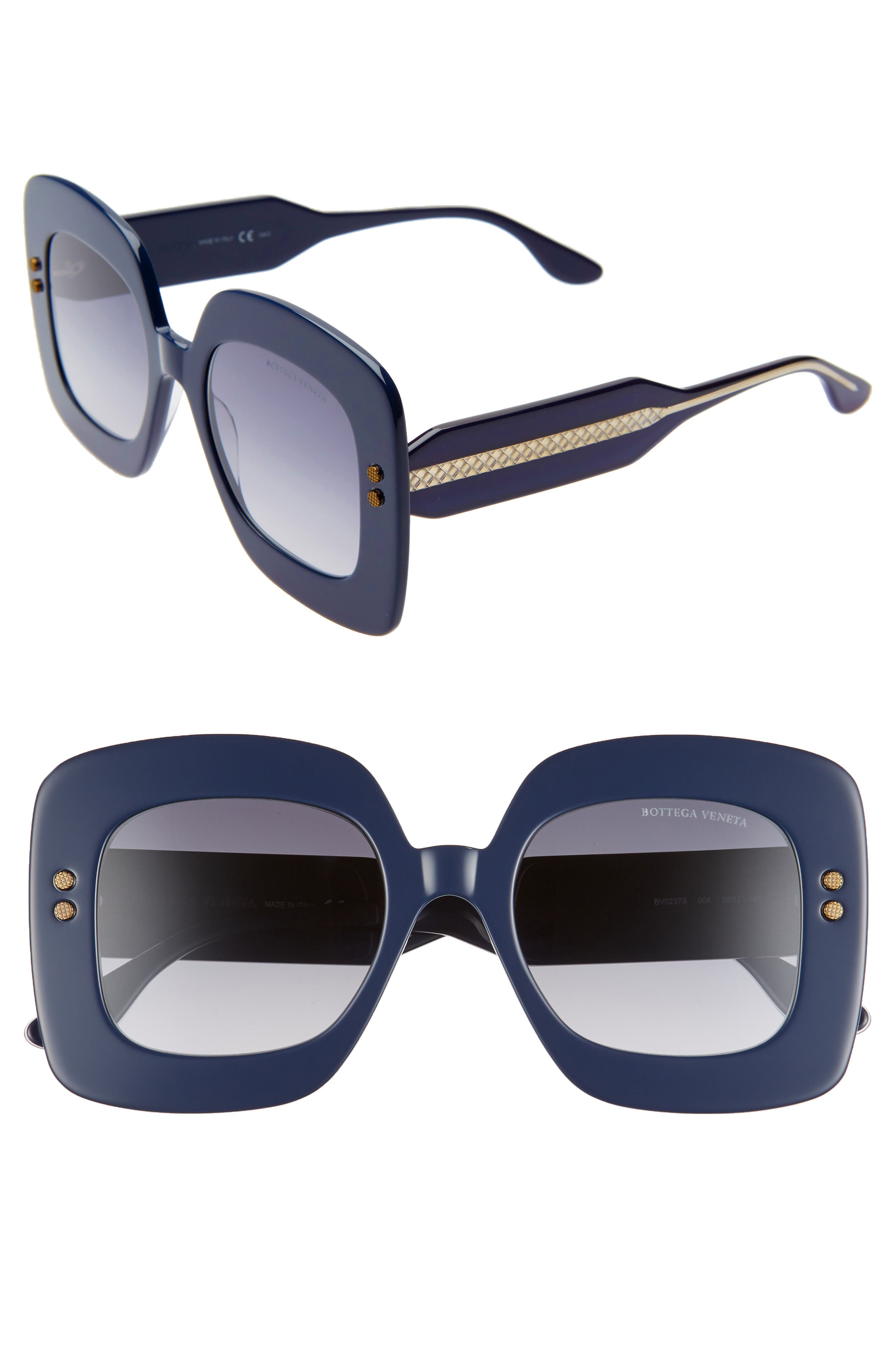 Bottega Veneta 50Mm Gradient Square Sunglasses - Dark Blue/ Blue