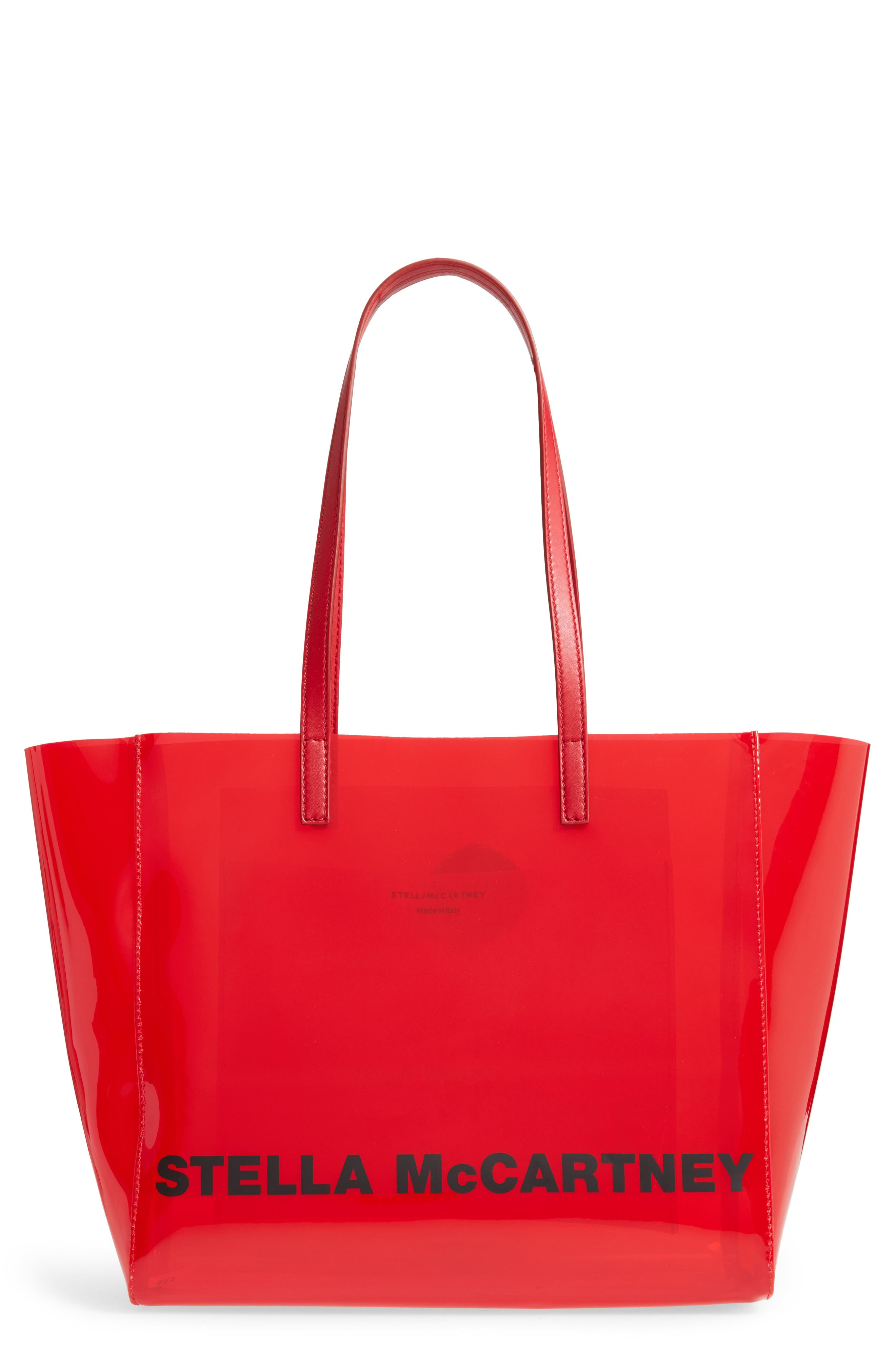 Stella Mccartney Clear Logo Tote - Red