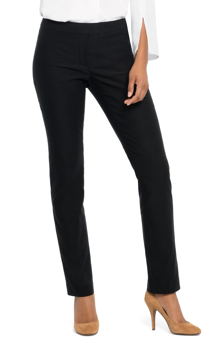 NIC+ZOE Wonderstretch Faux Fly Straight Leg Pants, Main, color, BLACK ONYX