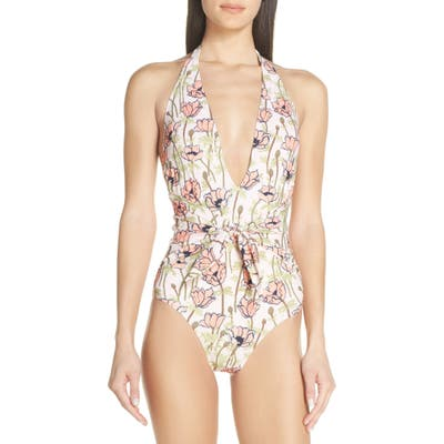 Tory Burch Tie Front Floral Print One-Piece Swimsuit, Pink