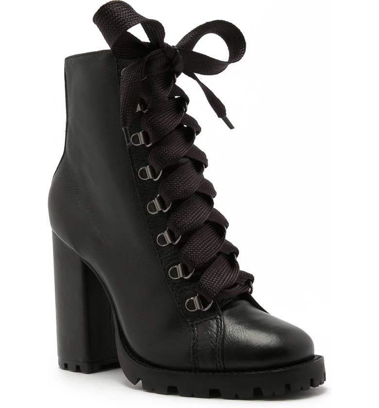 SCHUTZ Zara Lace-Up Boot, Main, color, BLACK LEATHER