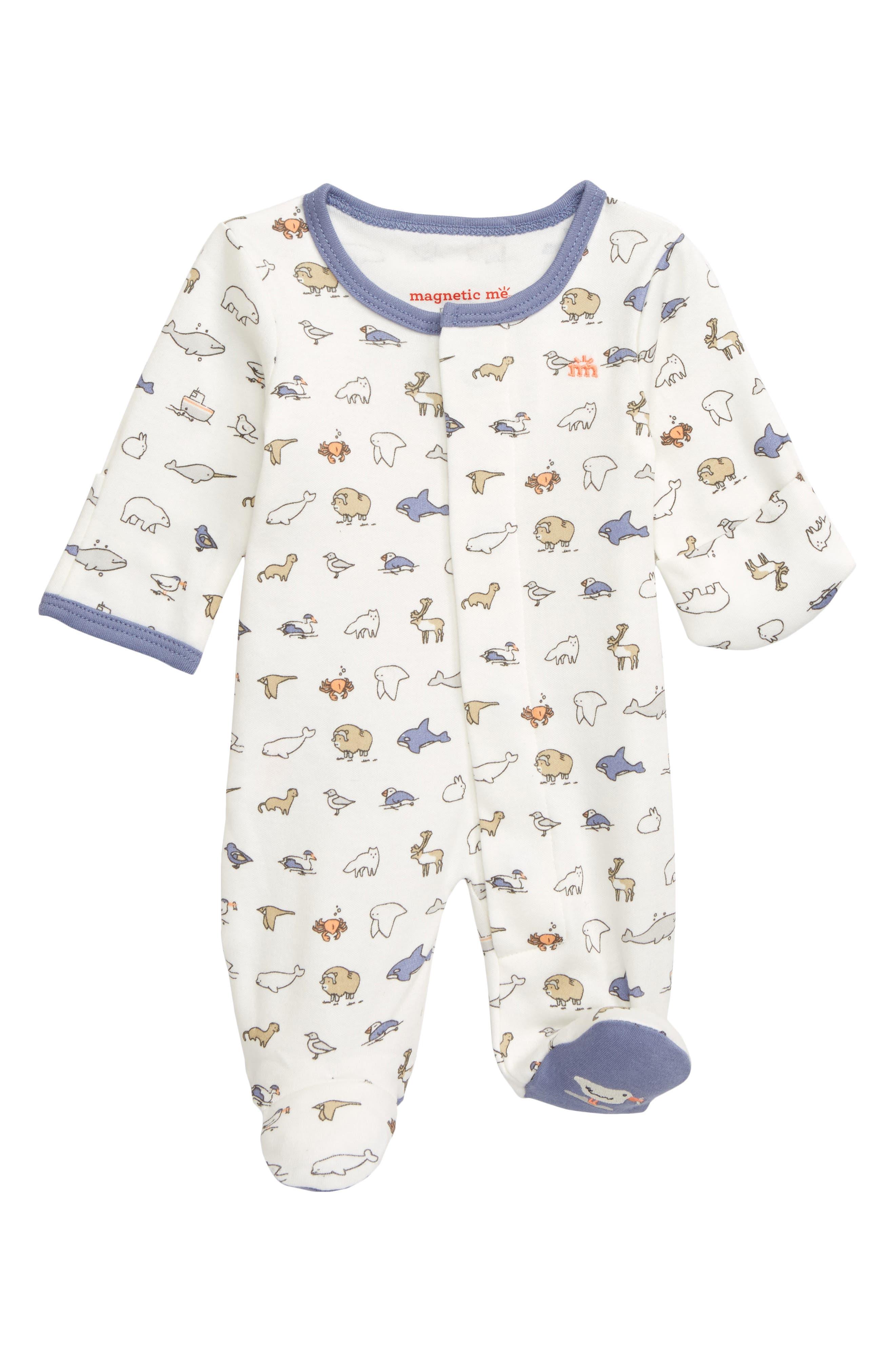 Infant Boys Magnetic Me Glacier Bay Organic Cotton Footie Size 1824M  Blue