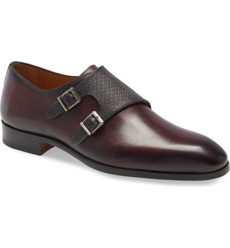 MAGNANNI Arlo Pebbled Monk Shoe, Main, color, BURGUNDY/ GREY