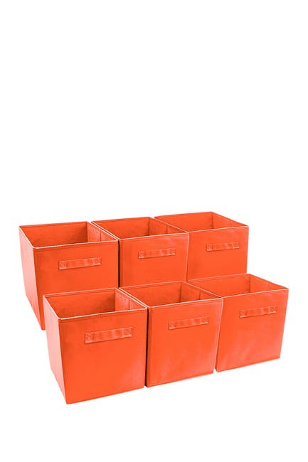 Image of Sorbus Foldable Storage Cube Basket Bin - Set of 6 - Orange