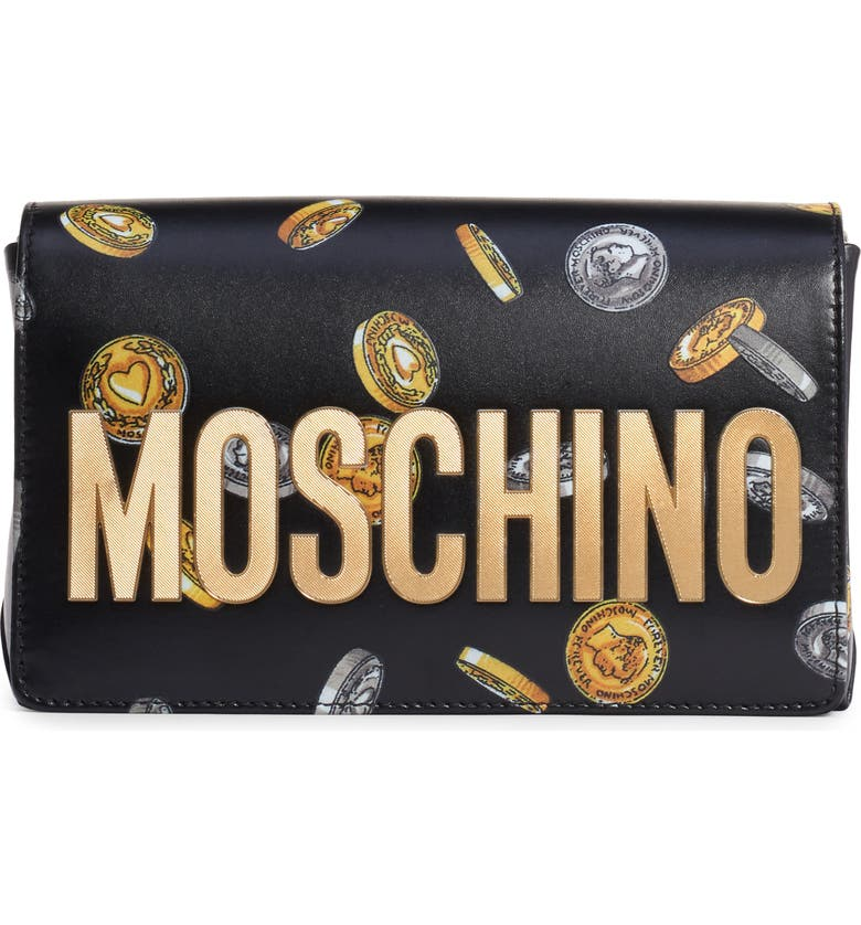 MOSCHINO Logo Coin Print Faux Leather Crossbody Bag, Main, color, BLACK