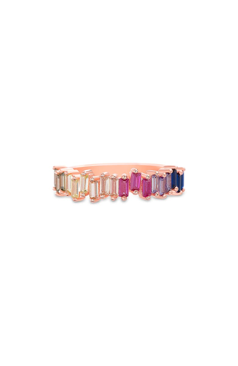 LESA MICHELE Baguette Ring, Main, color, ROSE GOLD/ MULTI