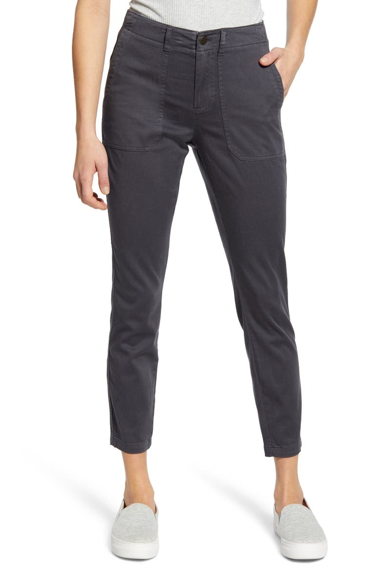 CASLON<SUP>®</SUP> Crop Utility Pants, Main, color, GREY EBONY