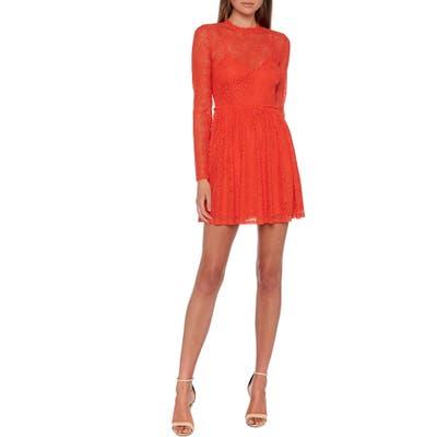 Bardot Sara Long Sleeve Lace Minidress, Orange