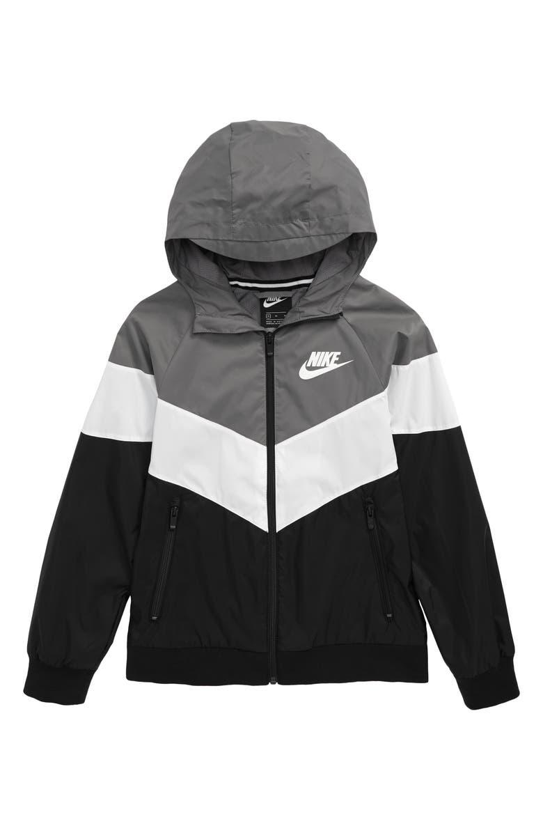 NIKE Hooded Windrunner Jacket, Main, color, GUNSMOKE/ SUMMIT WHITE