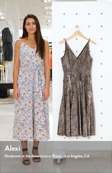 Delilah Plunging Jacquard Fit & Flare Midi Dress, sales video thumbnail