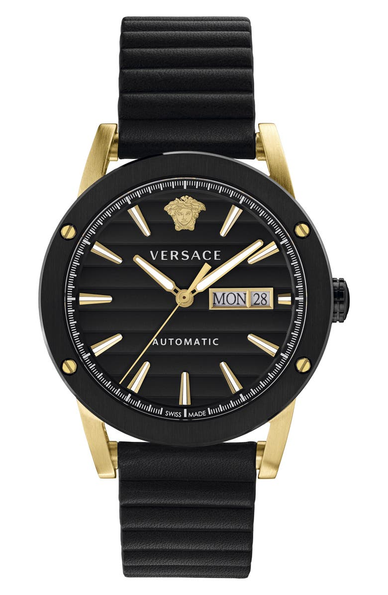VERSACE Theros Automatic Leather Strap Watch, 42mm, Main, color, 001
