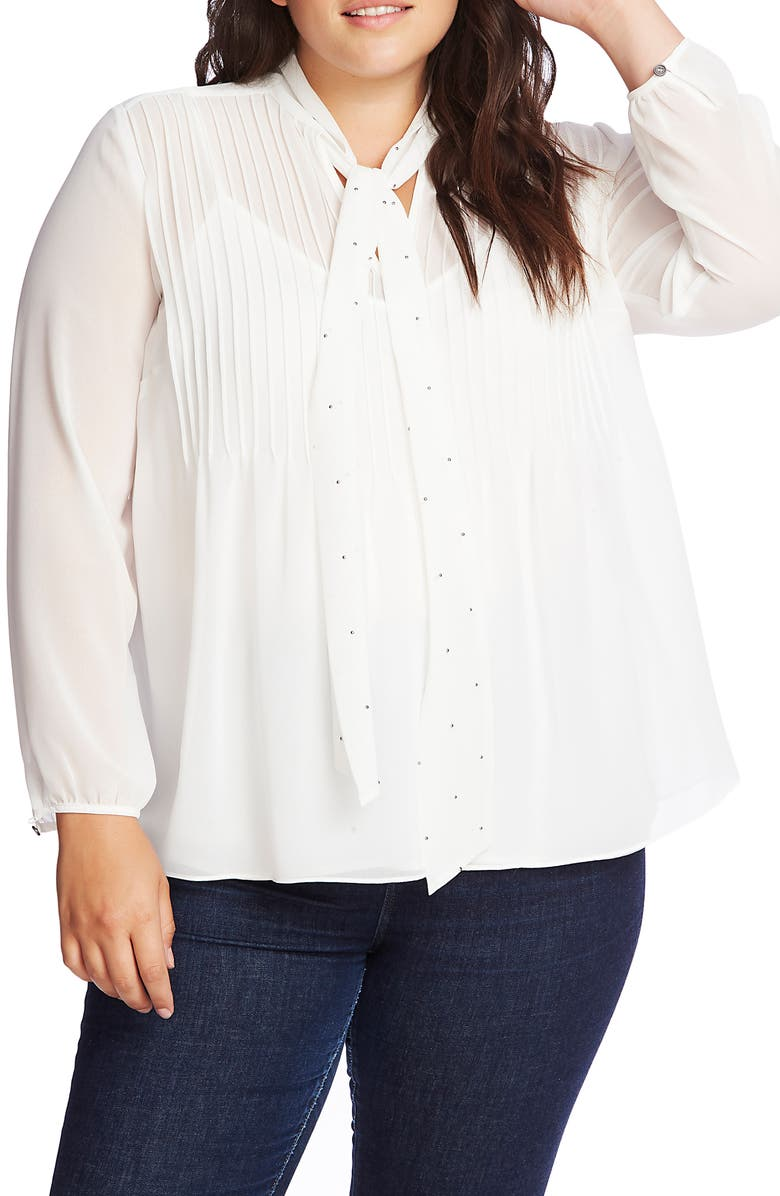 1.STATE Tie Neck Pintuck Chiffon Blouse, Main, color, SOFT ECRU