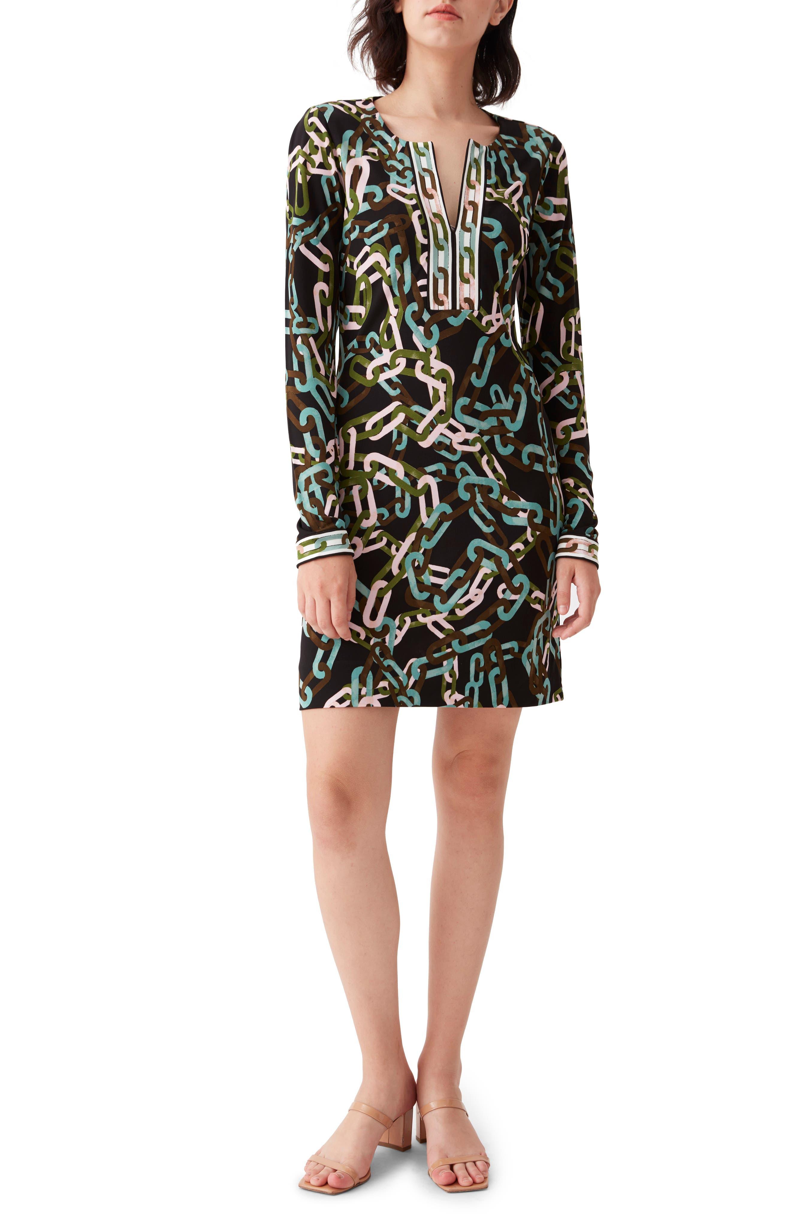 Reina Chain Print Long Sleeve Dress
