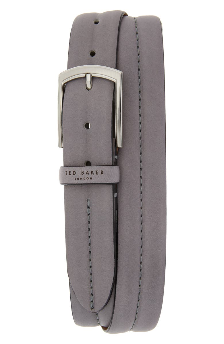 TED BAKER LONDON Stitched Leather Belt, Main, color, GREY