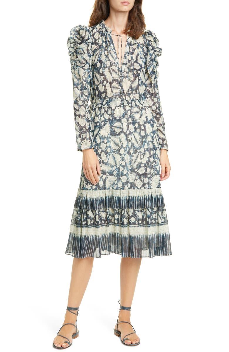 ULLA JOHNSON Nadia Floral Long Sleeve Midi Dress, Main, color, INDIGO