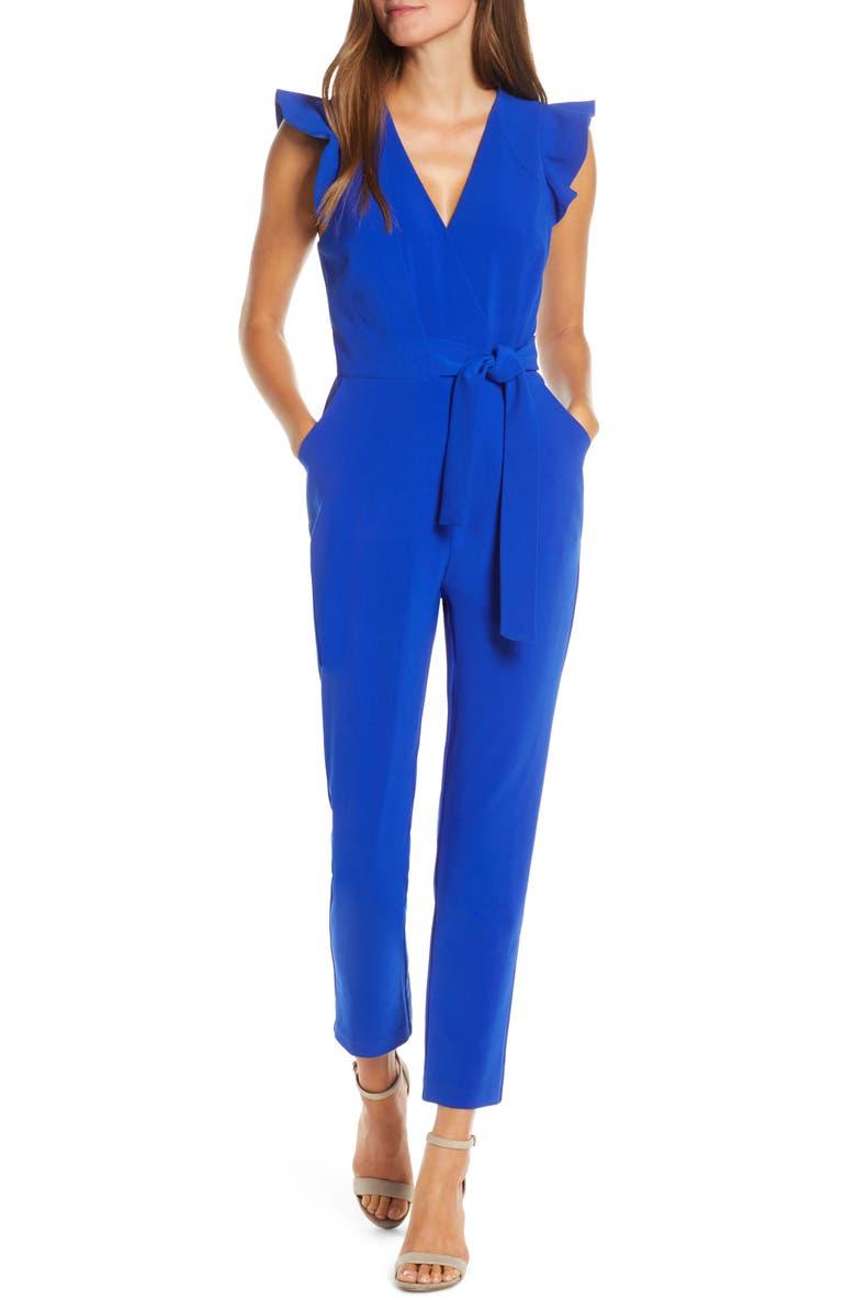 ADELYN RAE Cai Ruffle Cap Sleeve Jumpsuit, Main, color, COBALT