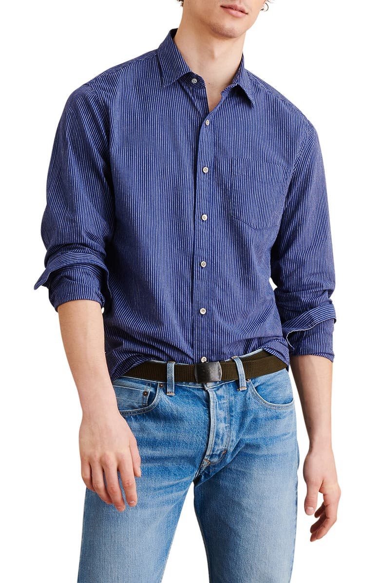 ALEX MILL Standard Stripe Cotton & Linen Button-Up Shirt, Main, color, 466