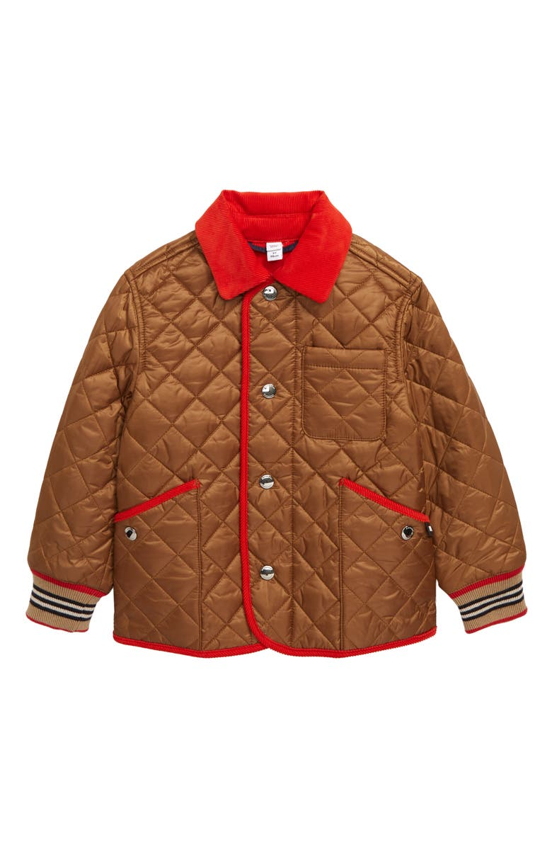 BURBERRY Culford Icon Stripe Trim Diamond Quilted Jacket, Main, color, BRONZE