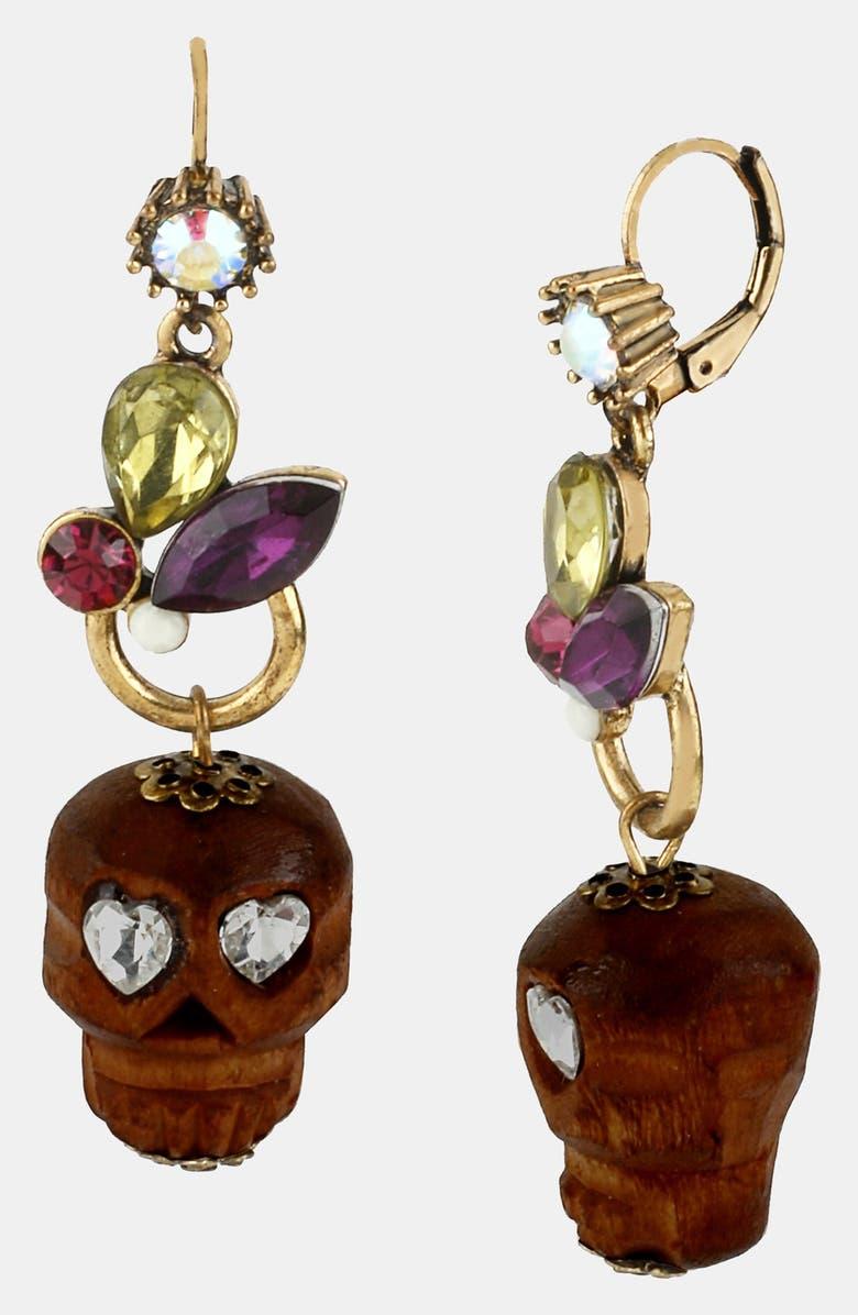 BETSEY JOHNSON 'St. Barts' Wood Skull Drop Earrings, Main, color, 800