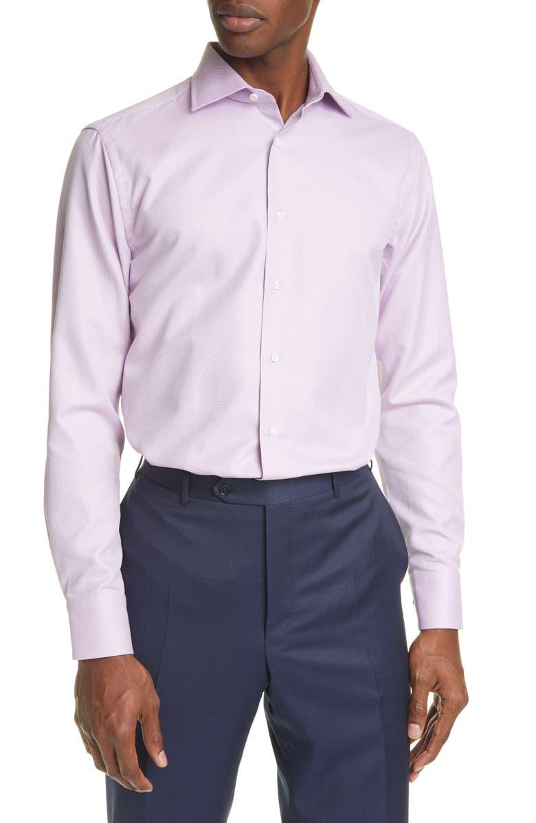 CANALI Trim Fit Dot Dress Shirt, Main, color, PURPLE