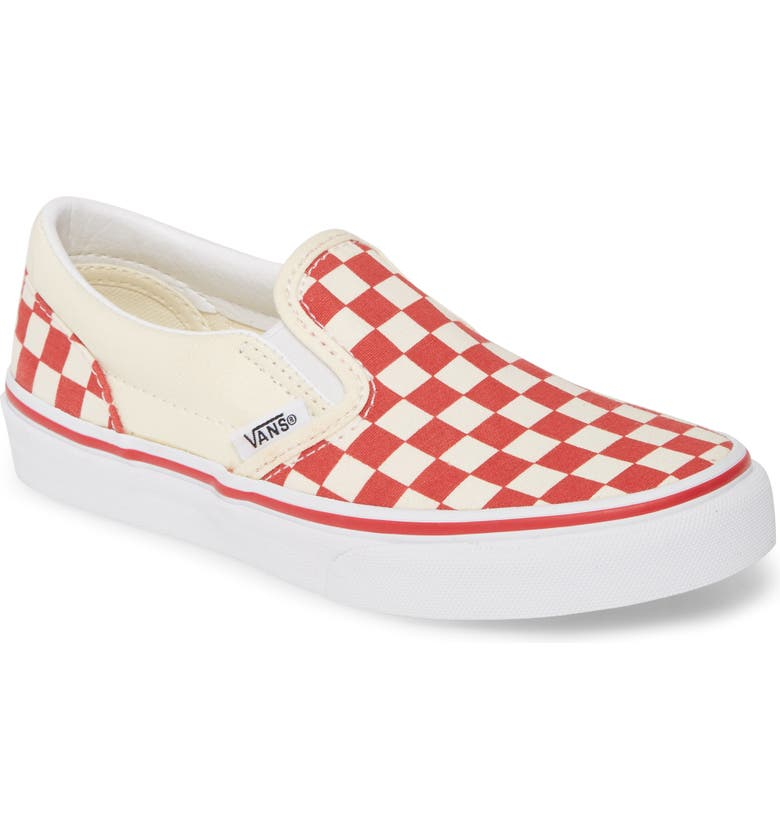 VANS Classic Checkerboard Slip-On Sneaker, Main, color, RACING RED/WHITE